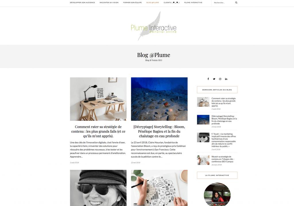 Plume interactive blog seo
