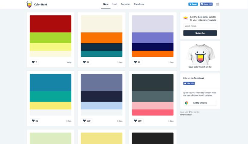 Color Hunt : Ressource couleur pour site internet