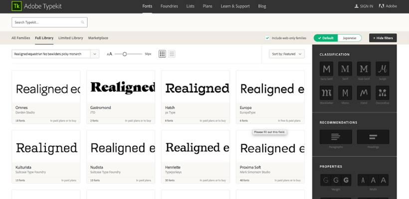 Typefont : Ressource typographie pour site
