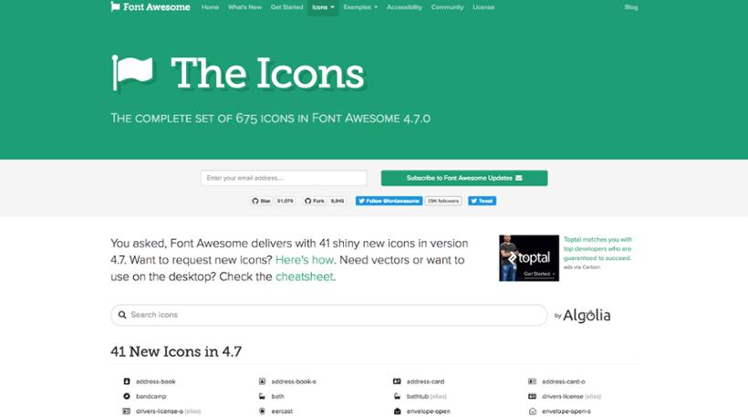 FontAwesome : Ressources icônes pour site web