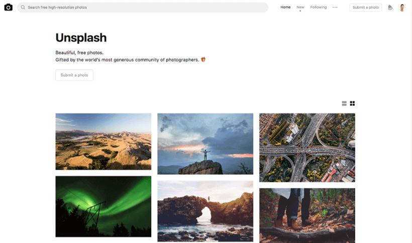 Unsplash : ressource image pour site web