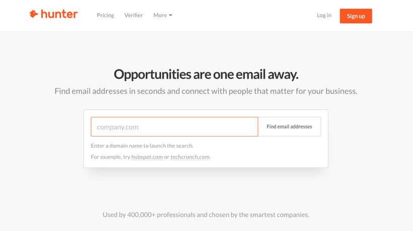 email hunter après avoir créé un site internet professionnel