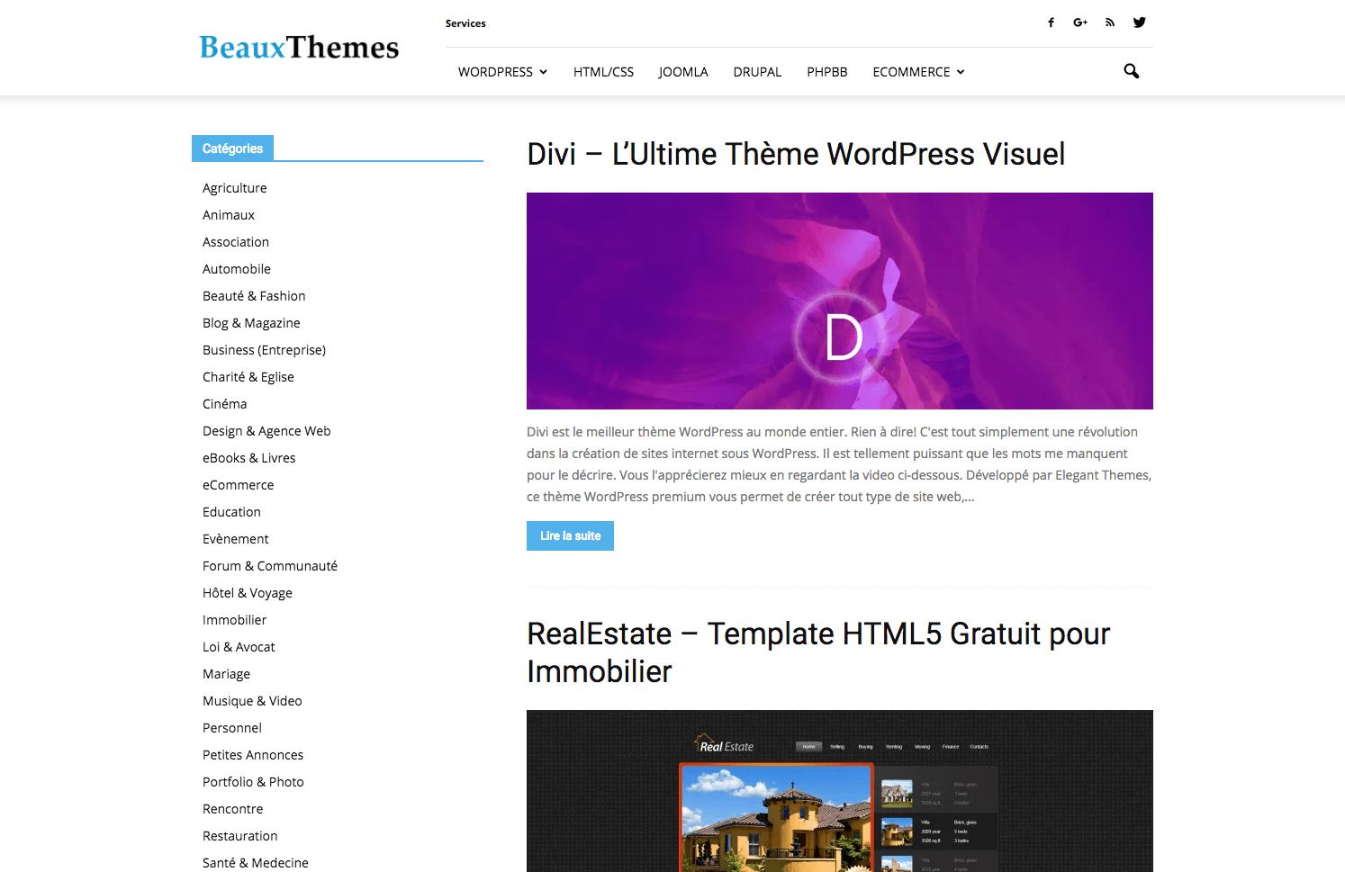Templates de sites : Beaux Themes
