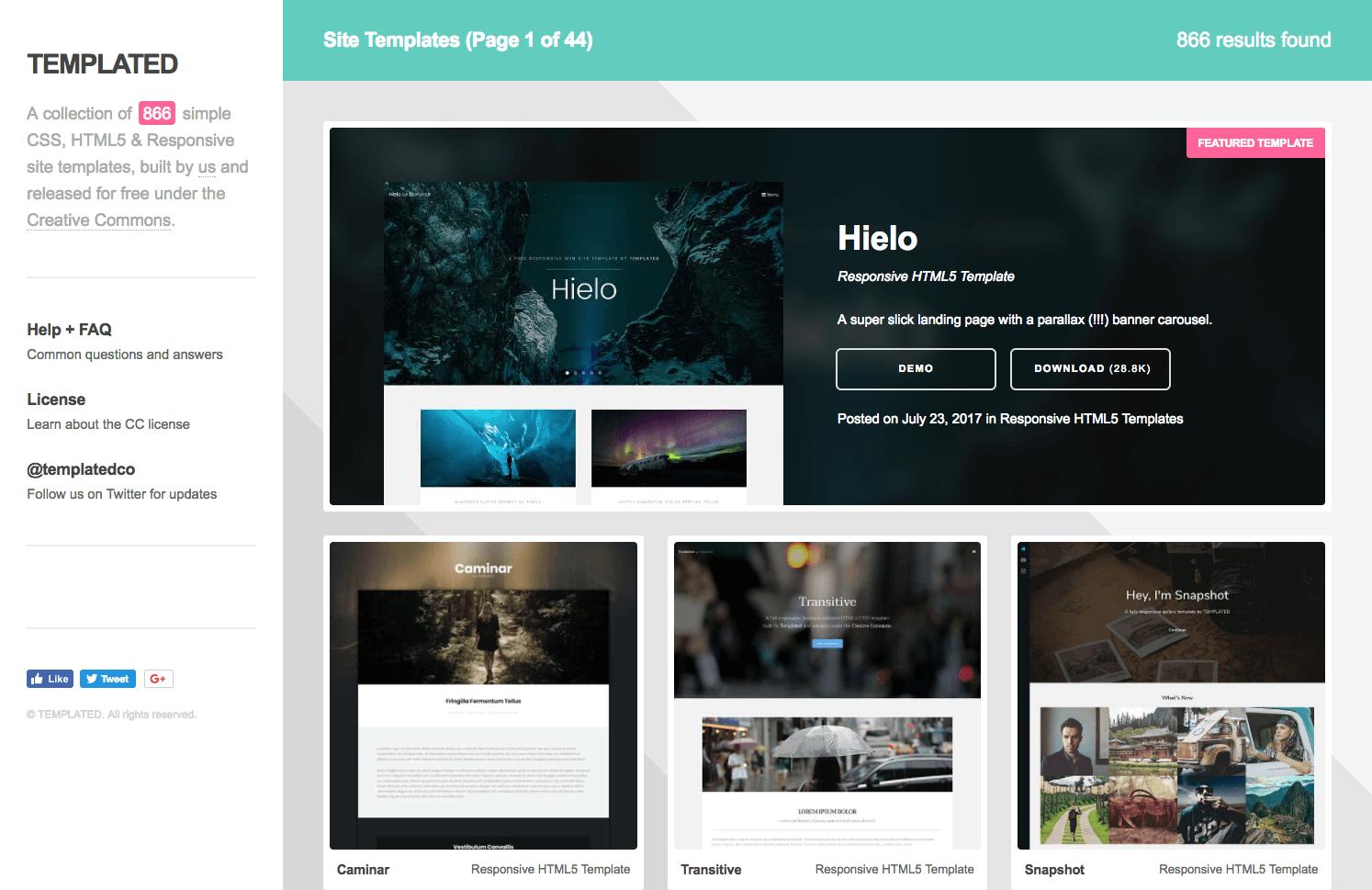 Site de templates : Templated