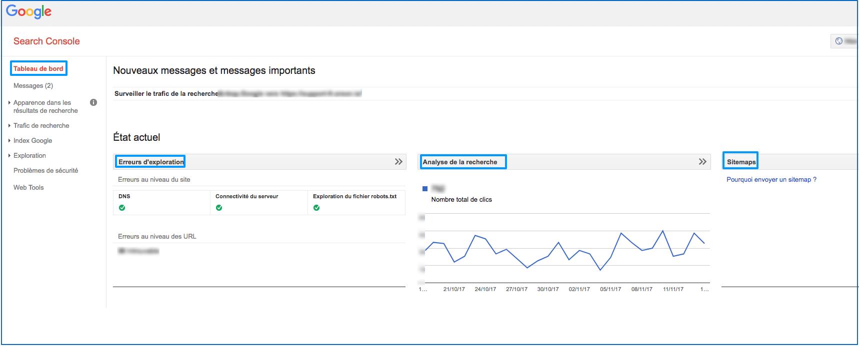 Google Webmaster : Tableau de bord
