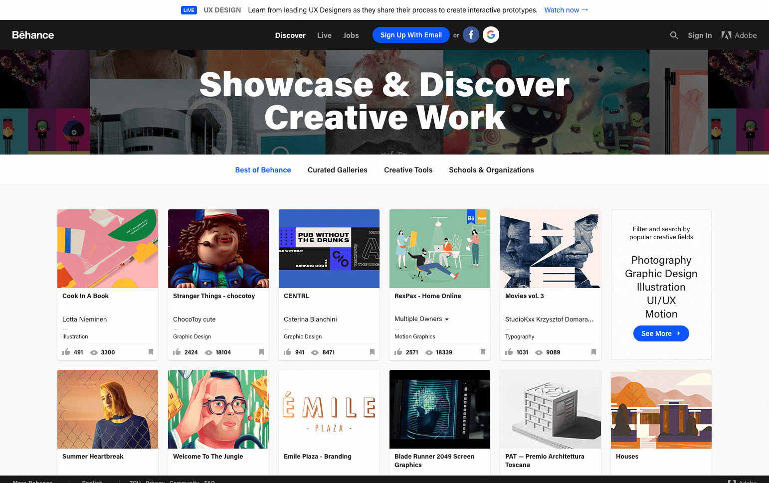 behance site internet Adobe